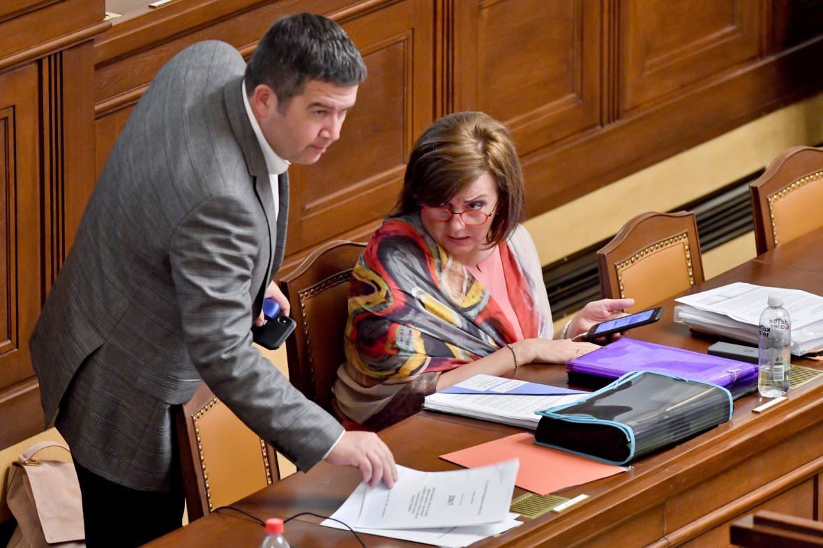 Jan Hamáček a Alena Schillerová ve sněmovně