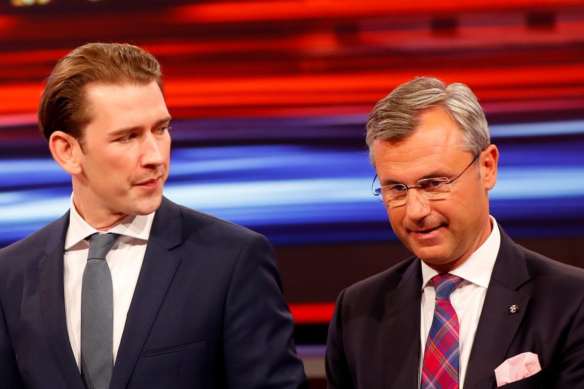 Předseda lidovců Kurz a šéf svobodných Hofer před televizní debatou