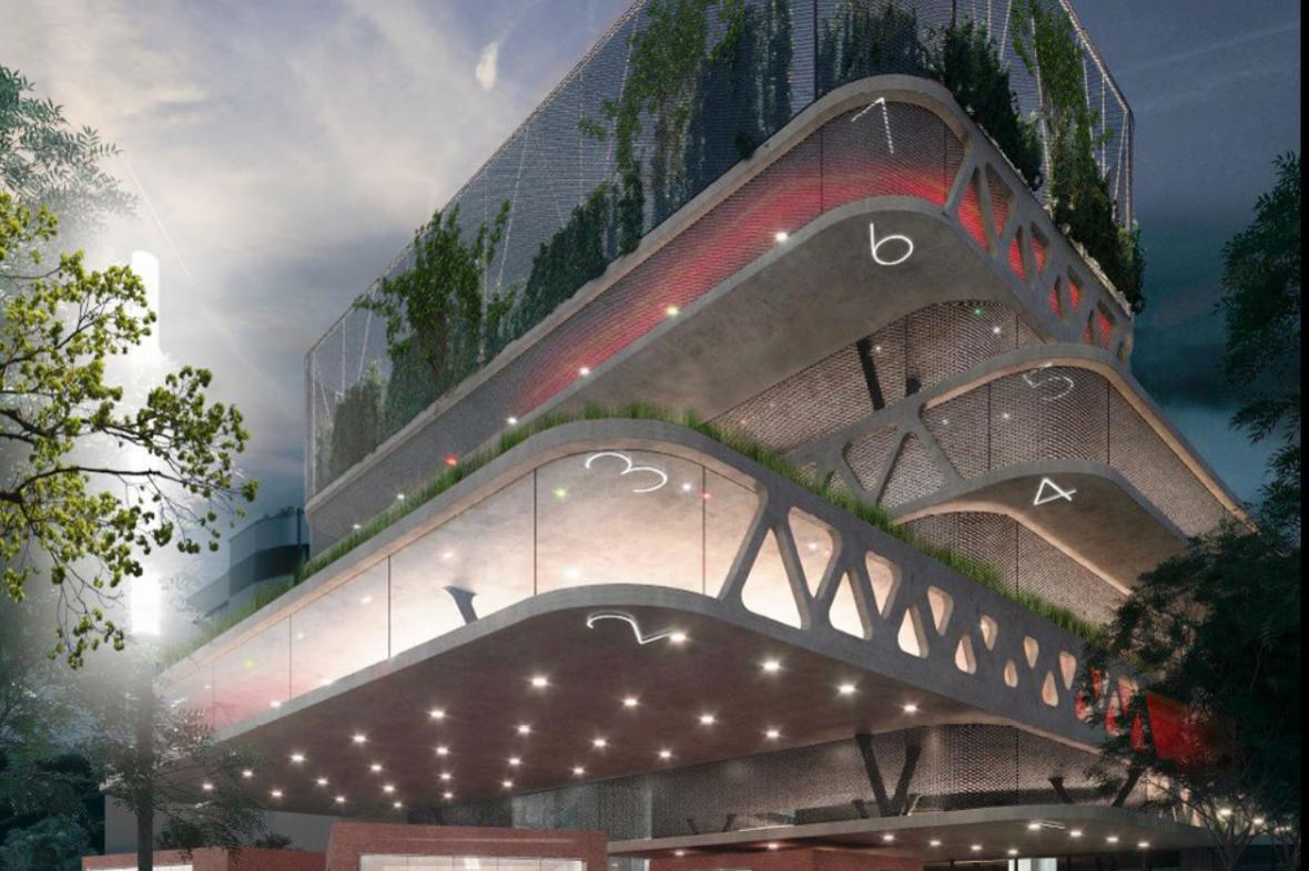 Vizualizace nového parkovacího domu v Ostravě