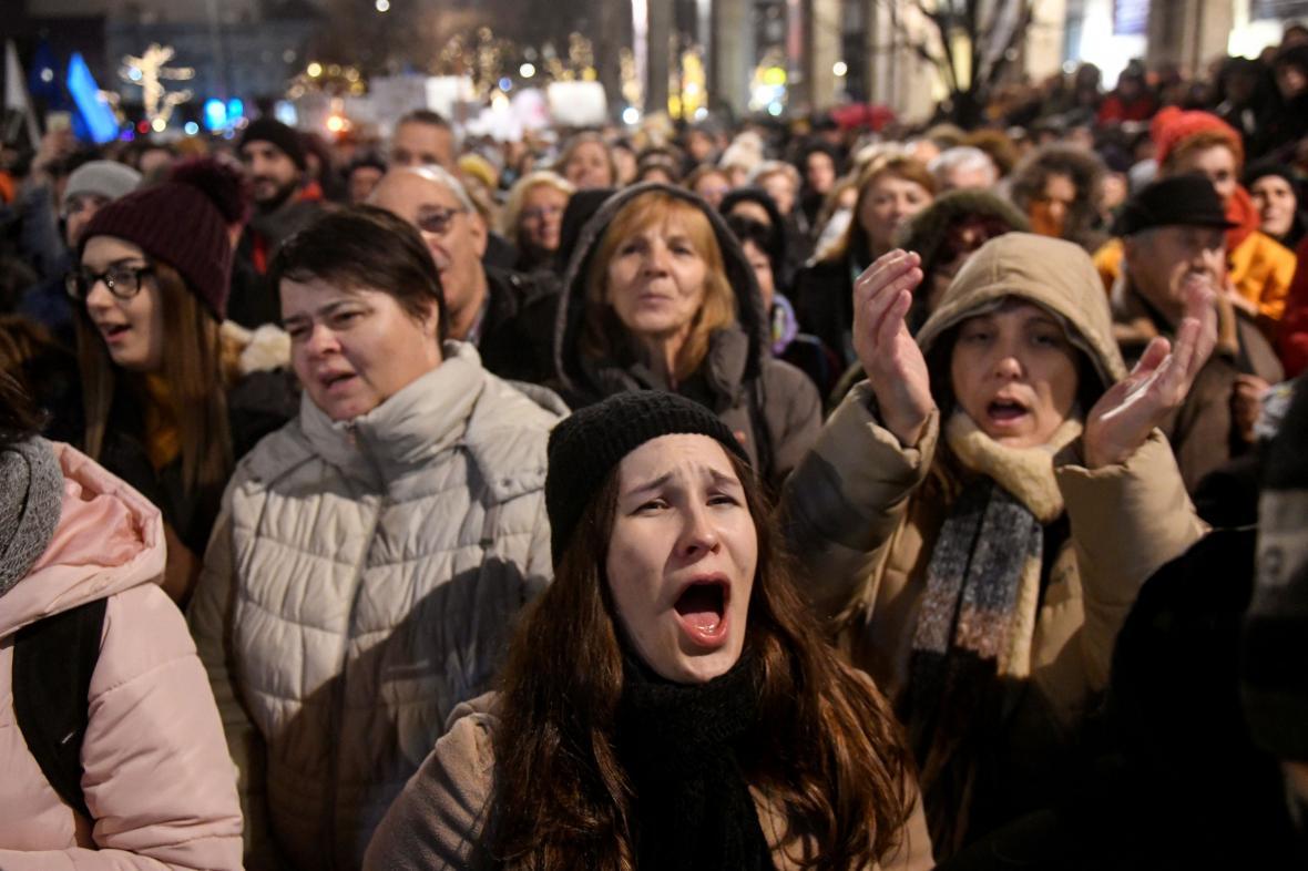 Demonstrace za nezávislost divadel v Budapešti