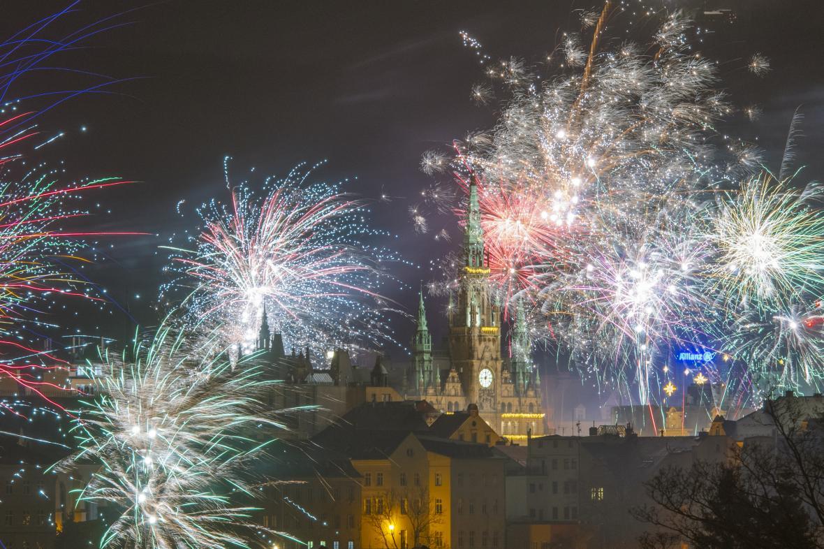 Oslavy Nového roku 1. ledna 2020 v Liberci.