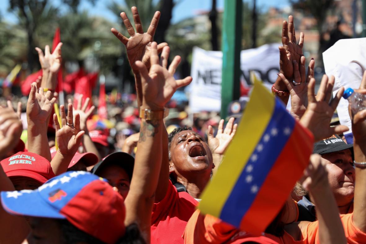 Demonstrace na podporu venezuelského prezidenta Nicólase Madura