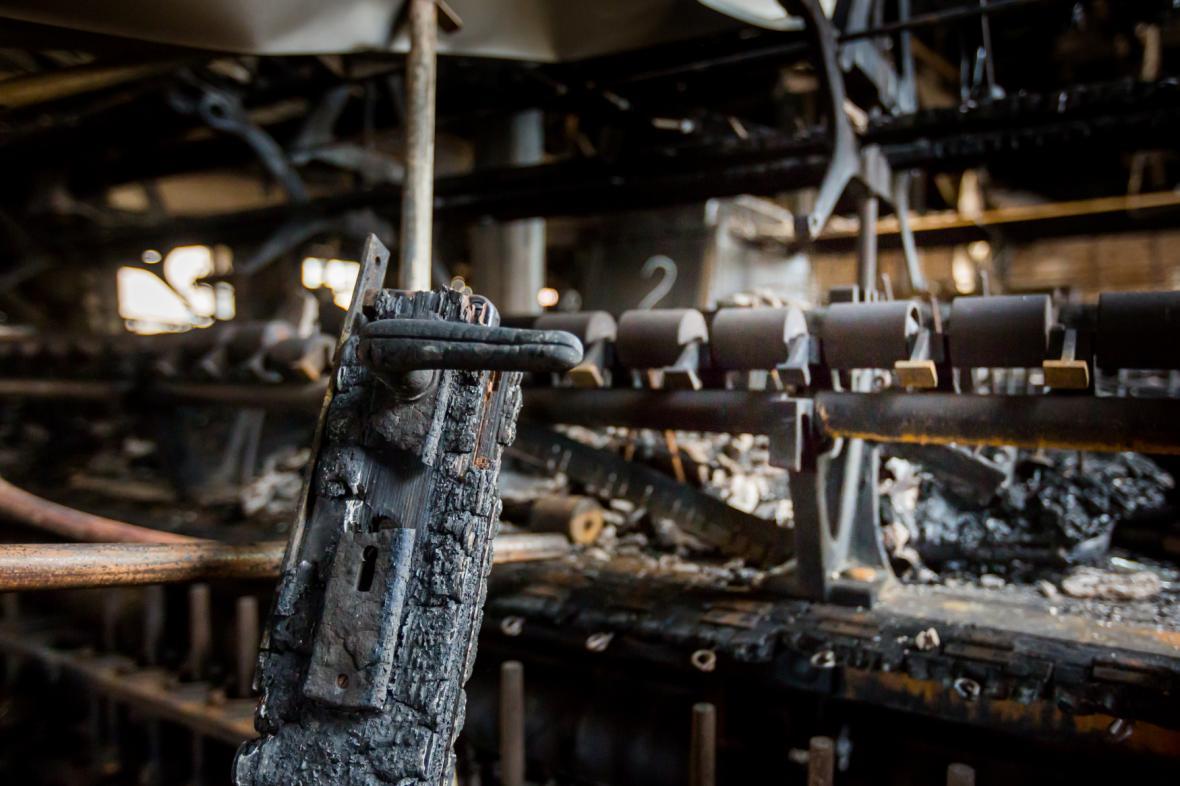 Krnovská textilka Karnola vyhořela v lednu 2018