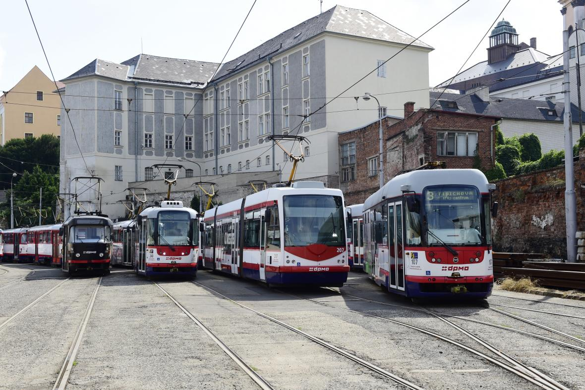 Tramvajové depo v centru Olomouce