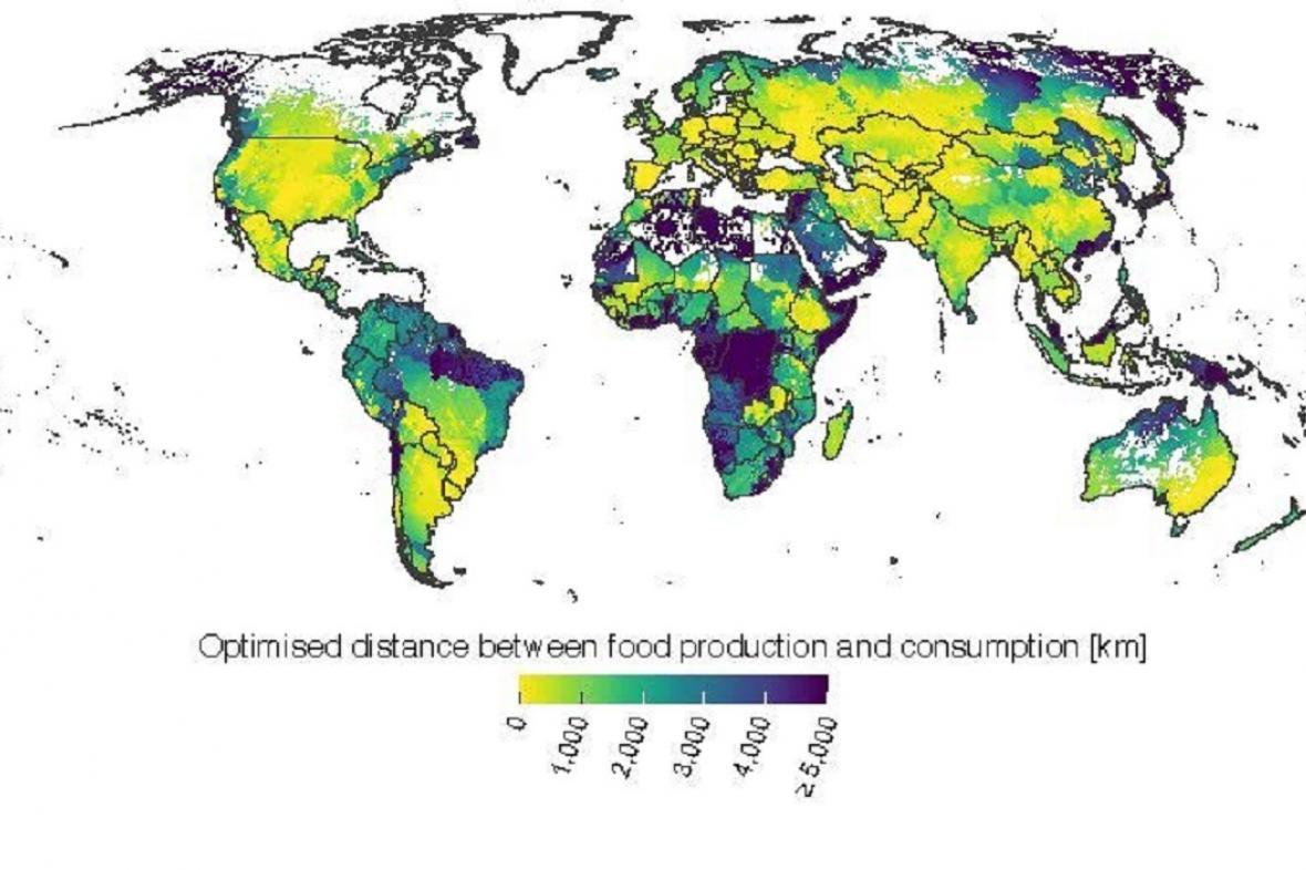 Čím světlejší barva, tím jsou regiony více potravinově soběstačné