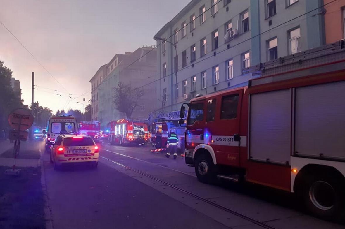 Požár domu v Jugoslávské ulici v Brně