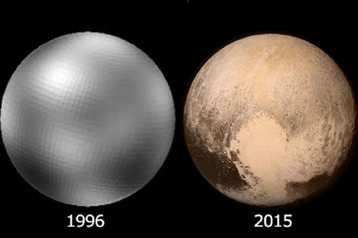 Pluto nafocené roku 1996 a 2015