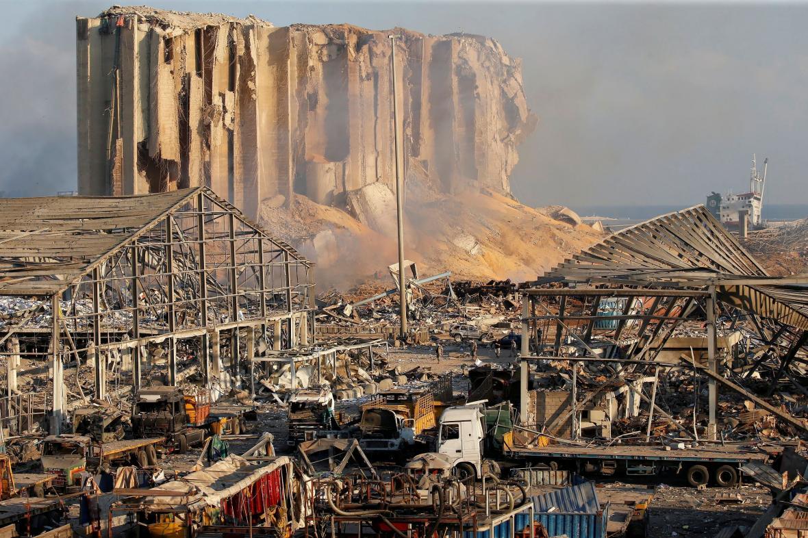 Obří bejrútské silo zničené explozí