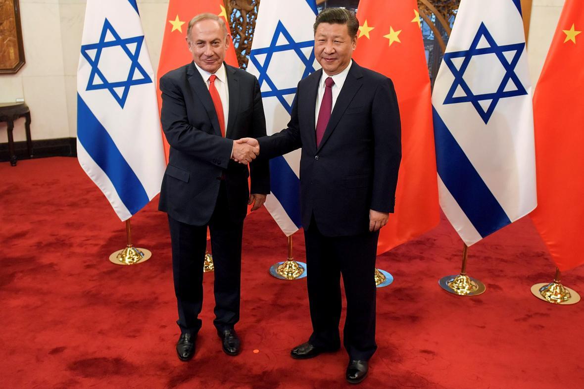 Izraelský premiér Benjamin Netanjahu a čínský prezident Si Ťin-pching