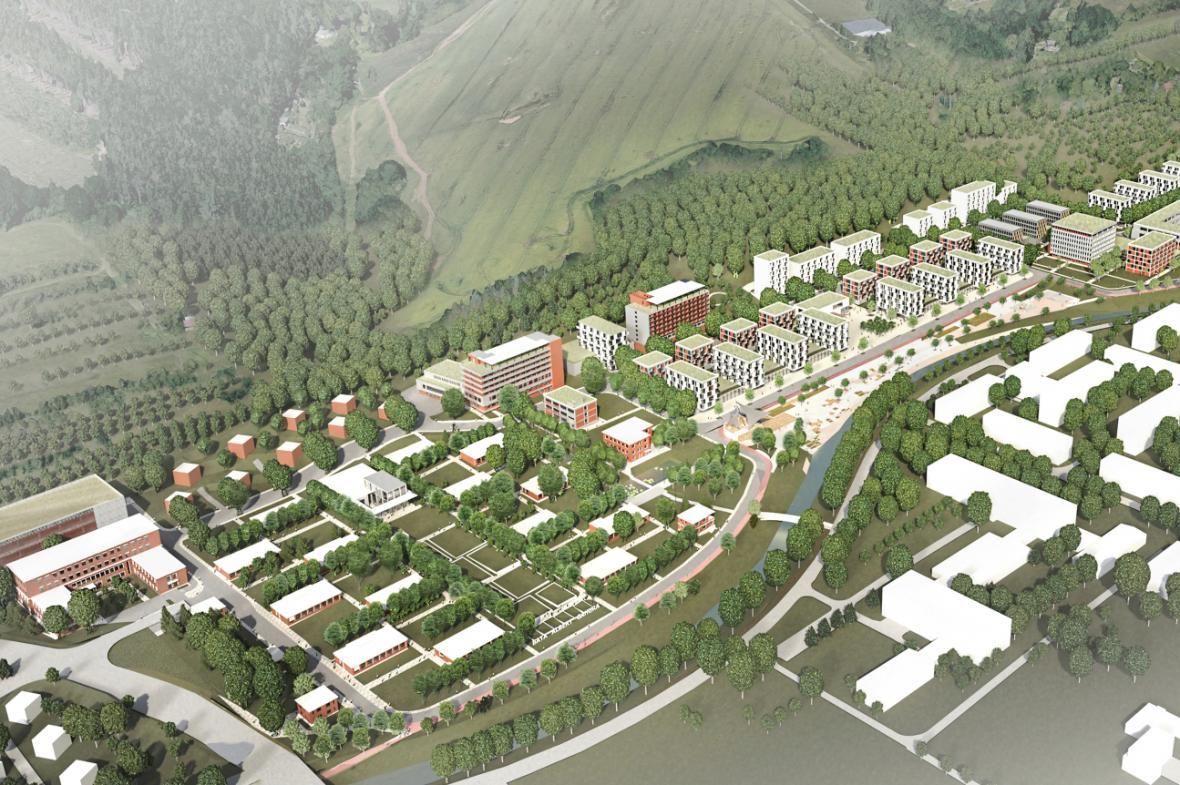 Vítězný návrh budoucního využití areálu krajské nemocnice ve Zlíně