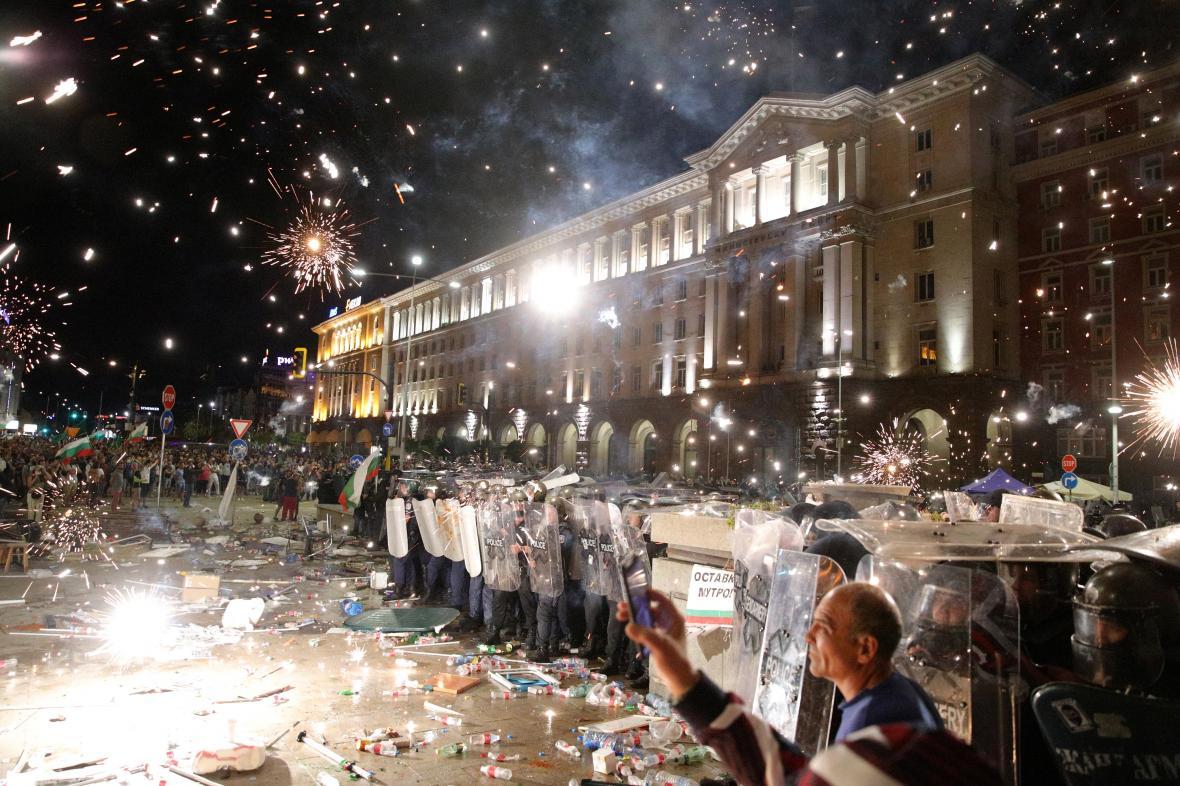 Demonstrace před bulharským parlamentem