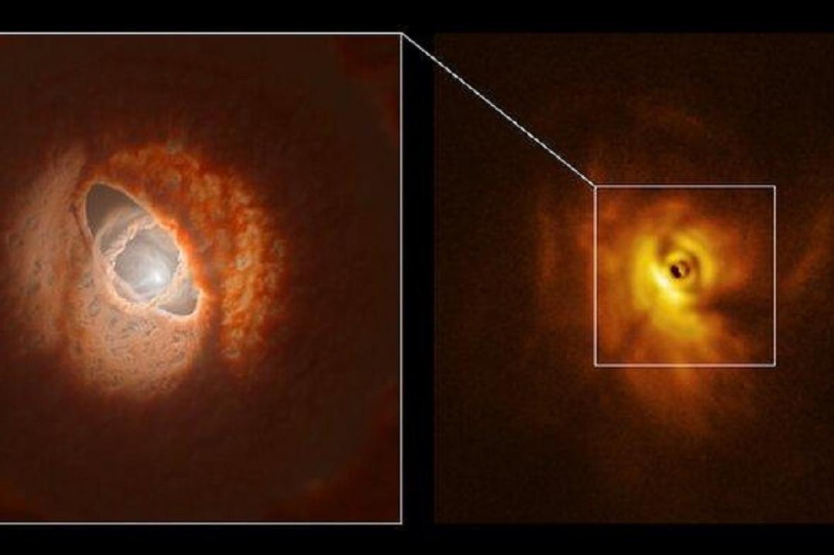 Vlevo umělecká představa soustavy, vpravo reálný snímek
