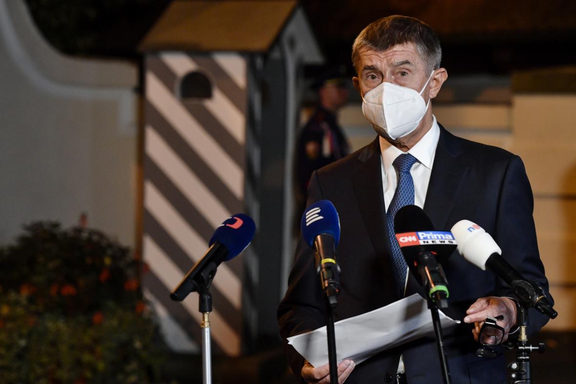 Premiér Andrej Babiš (ANO) po jednání v Lánech