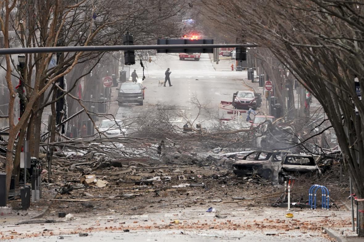 Následky exploze v Nashvillu