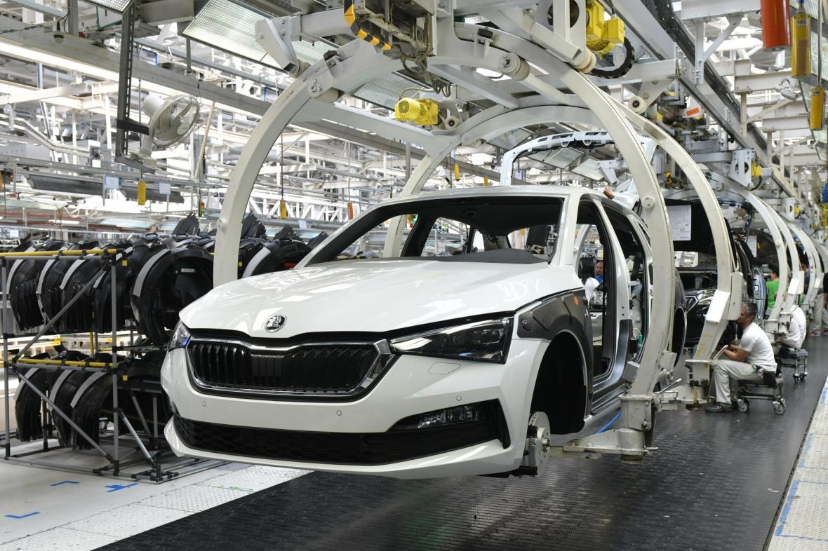 Výroba modelu Scala v továrně automobilky Škoda Auto v Mladé Boleslavi
