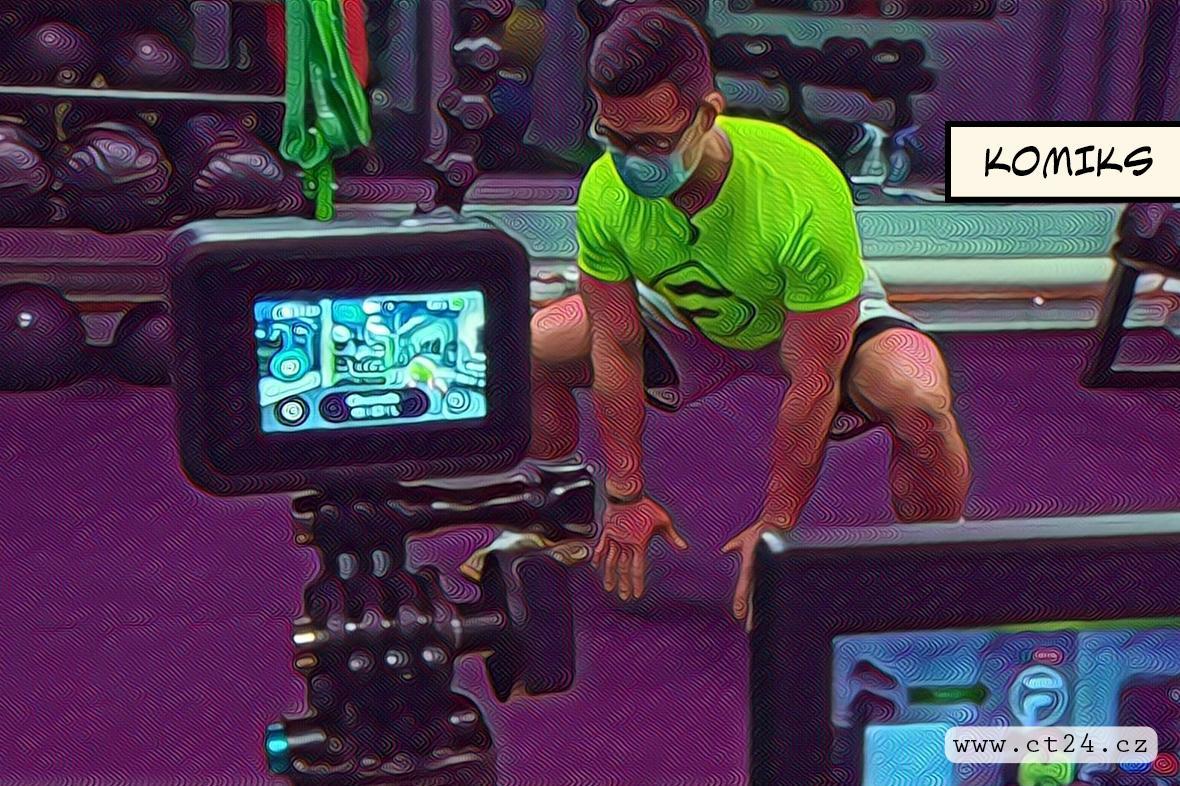 Cvičení on-line před webovou kamerou. Některá sportovní zařízení fungují alespoň přes internet