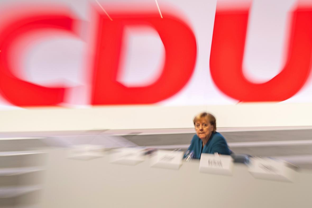 Angela Merkelová na sjezdu CDU v Lipsku v listopadu 2019