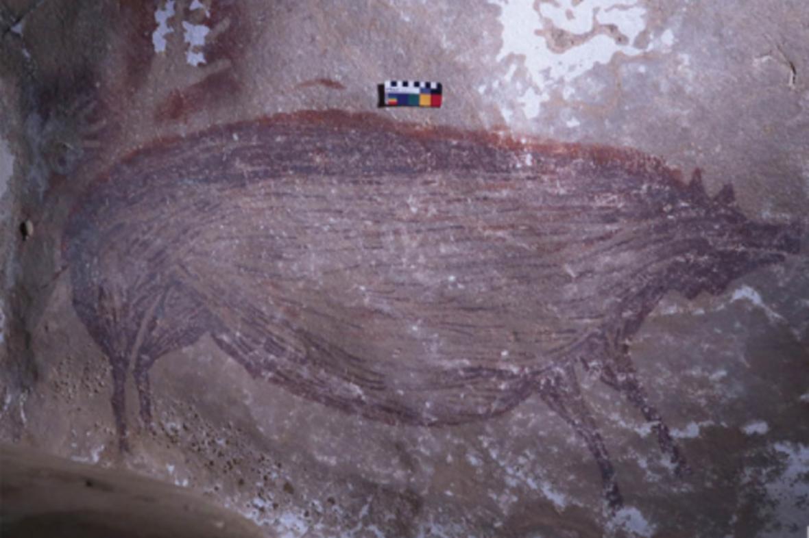 Jeskynní malba v indonéské jeskyni