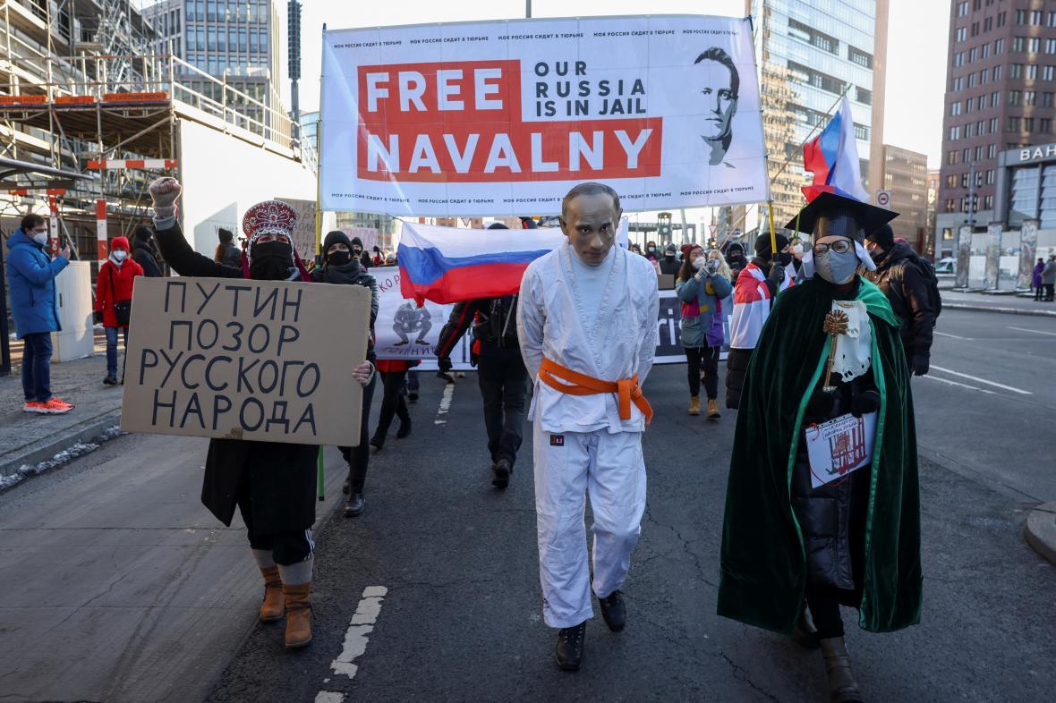 Demonstrace za Navalného v Berlíně