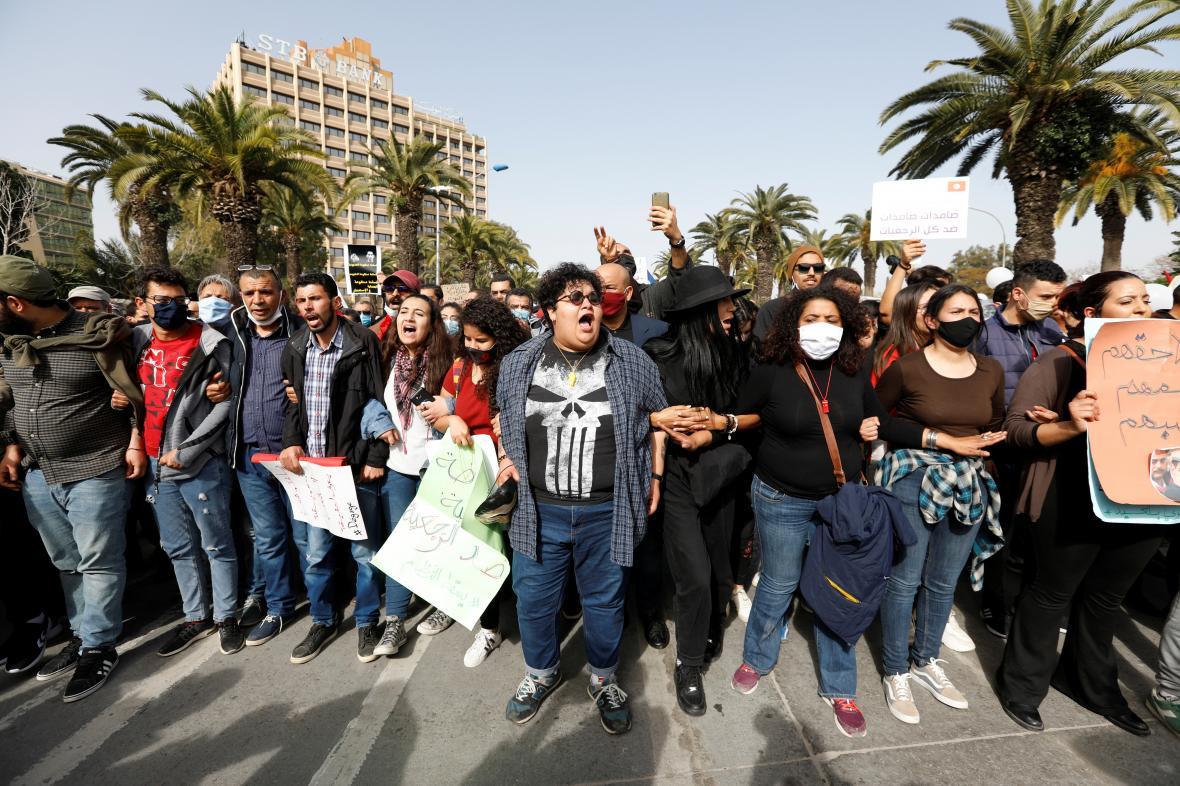 Protest v Tunisu
