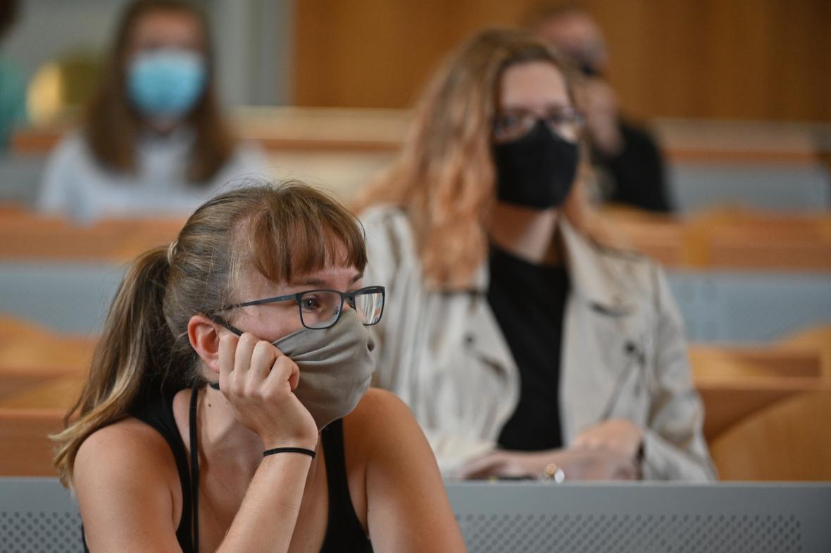 Posluchárna brněnské Mendelovy univerzity v září 2020