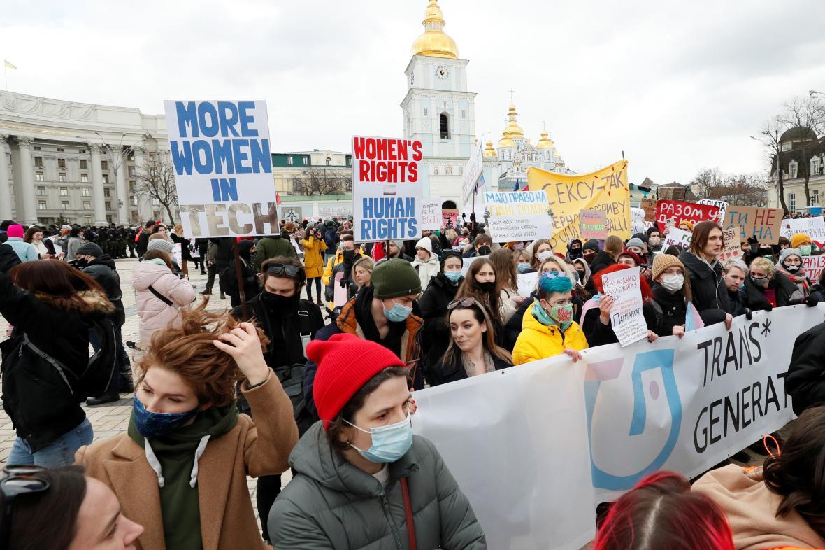 Demonstrace za ženská práva v Kyjevě