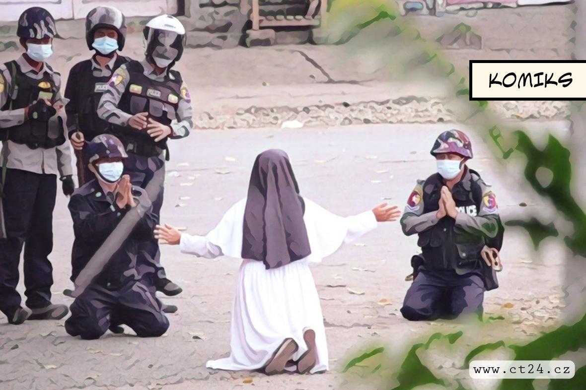 Jeptiška chrání tělem demonstranty