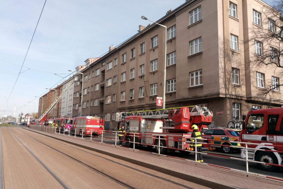 Místo zásahu hasičů v Praze