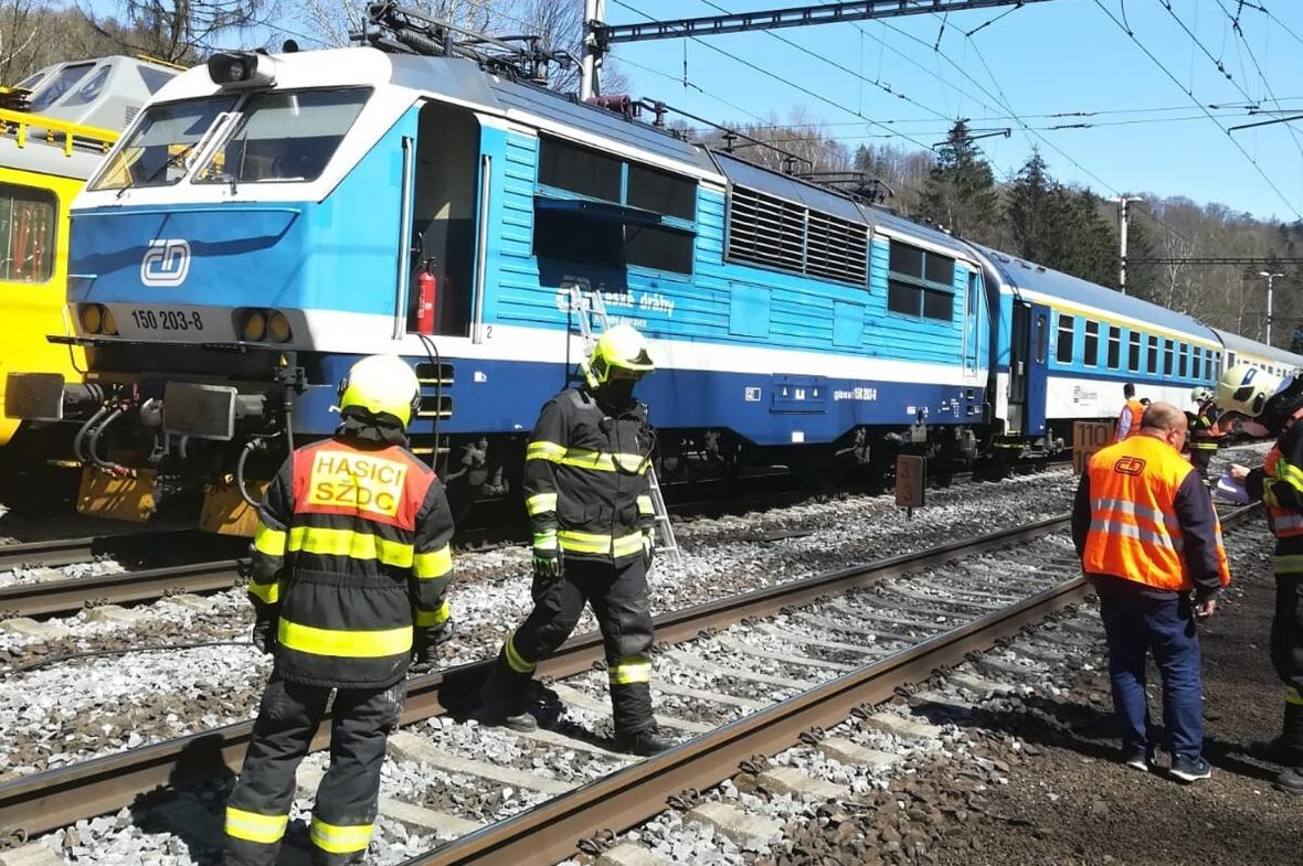 Požár lokomotivy na Šumpersku