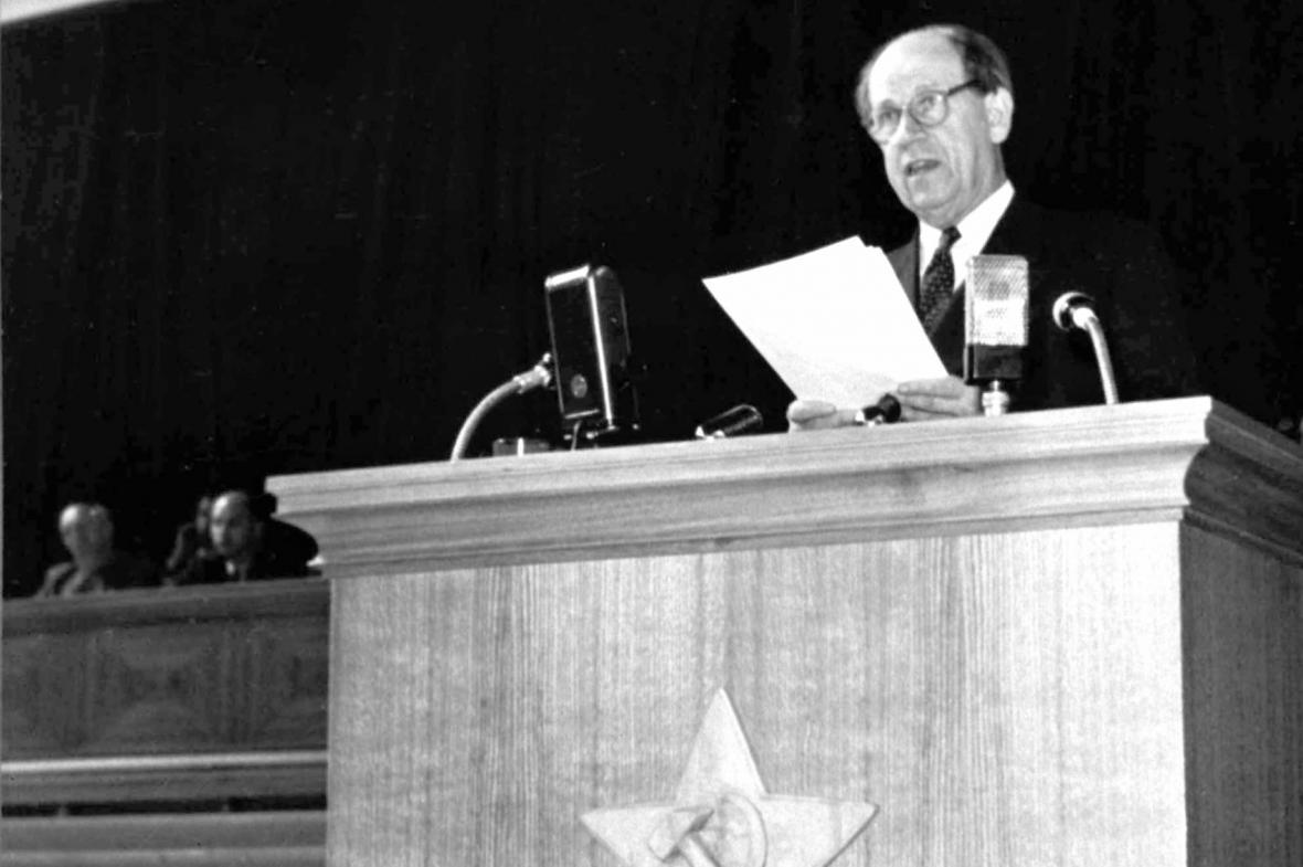 Antonín Zápotocký na X. sjezdu KSČ