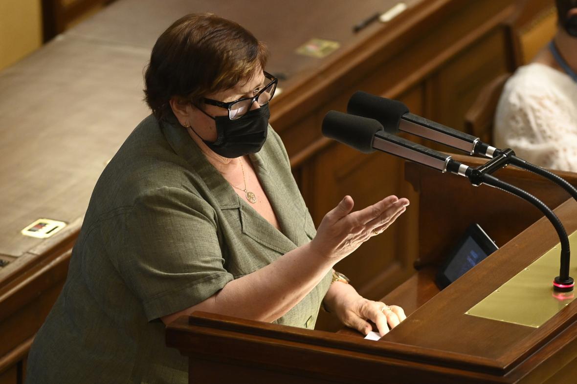 Ministryně spravedlnosti Marie Benešová v Poslanecké sněmovně