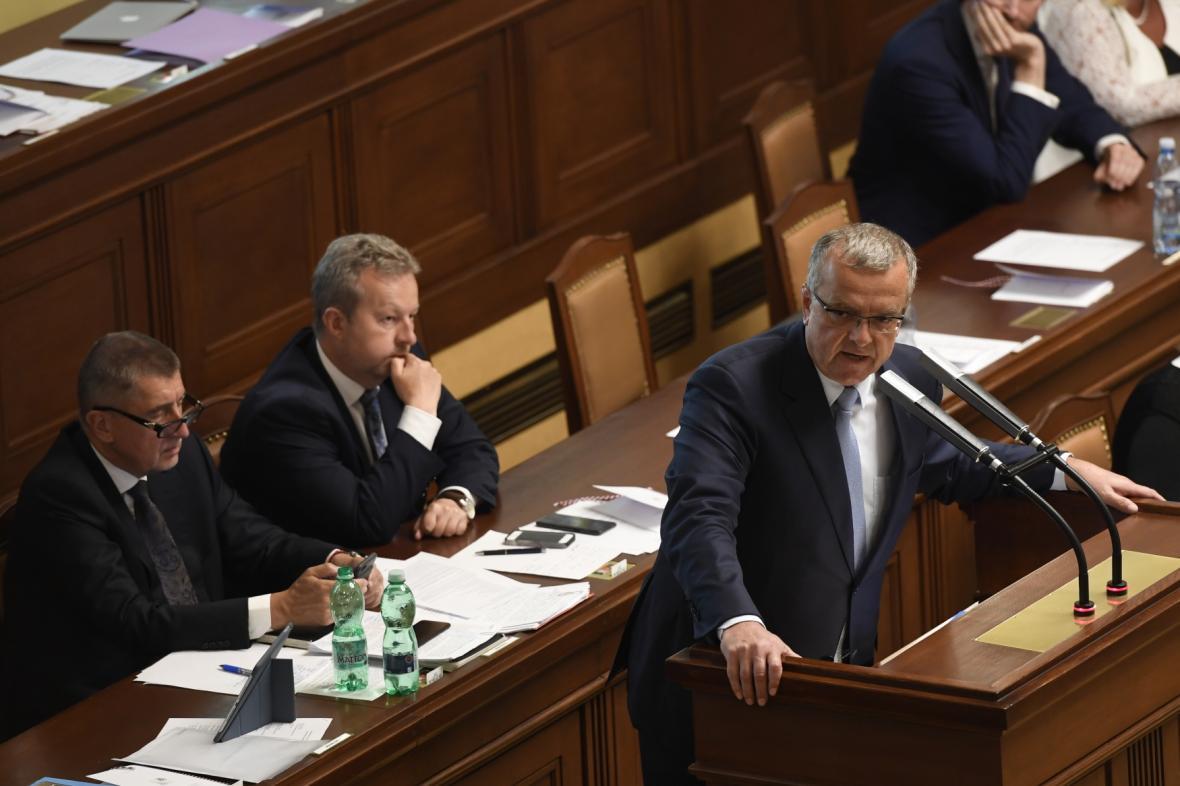 Andrej Babiš a Miroslav Kalousek v Poslanecké sněmovně