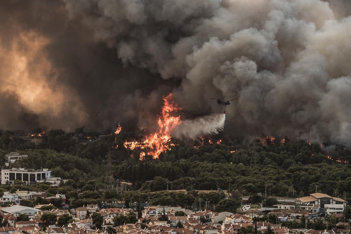 Požár severně od Atén