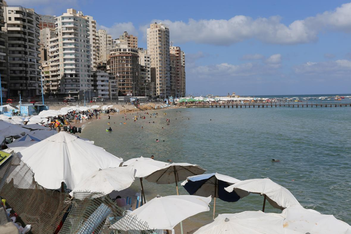 Pláž v egyptské Alexandrii