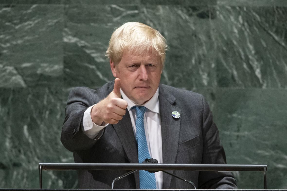Boris Johnson před Valným shromážděním OSN