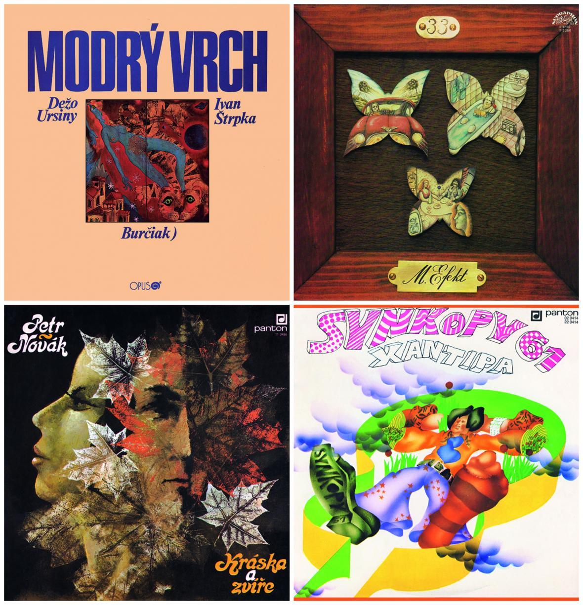 Původní obaly nahrávek z kompilace Art Rock Line 1971–1985