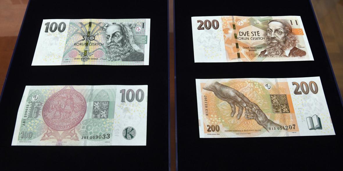 Nové vzory bankovek o hodnotě 100 Kč a 200 Kč