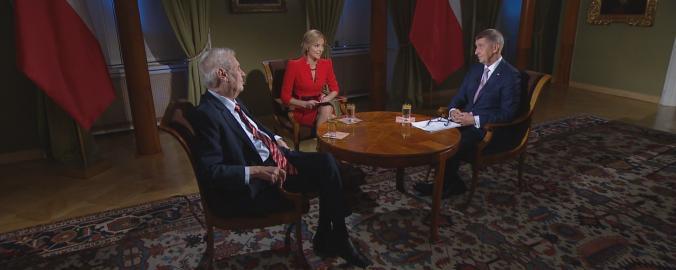 Miloš Zeman a Andrej Babiš při rozhovoru ke 100. výročí vzniku ČSR