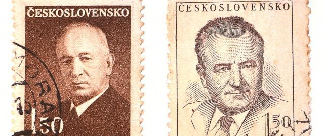 Edvard Beneš a Klement Gottwald na prezidentských známkách