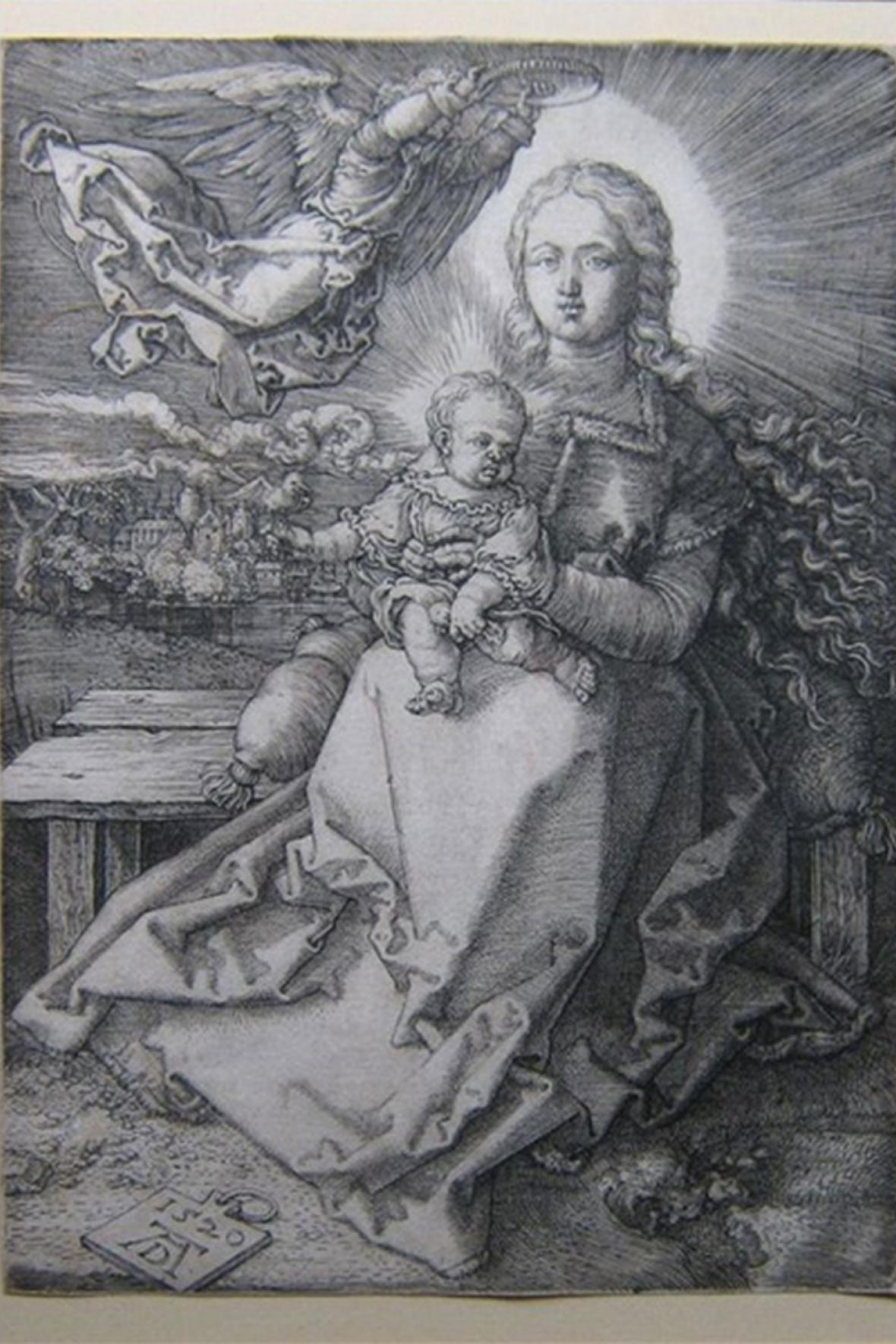Dürerorva rytina Marie korunovaná andělem