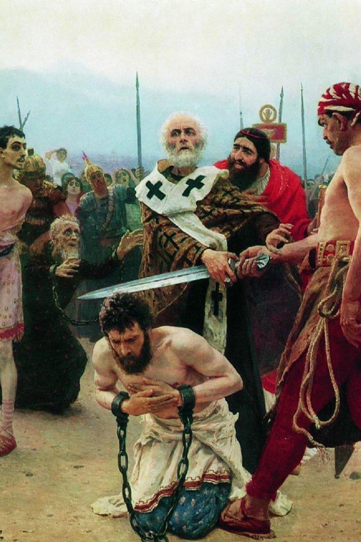 Svatý Mikuláš zachraňuje tři nevinné, obraz Ilji Repina