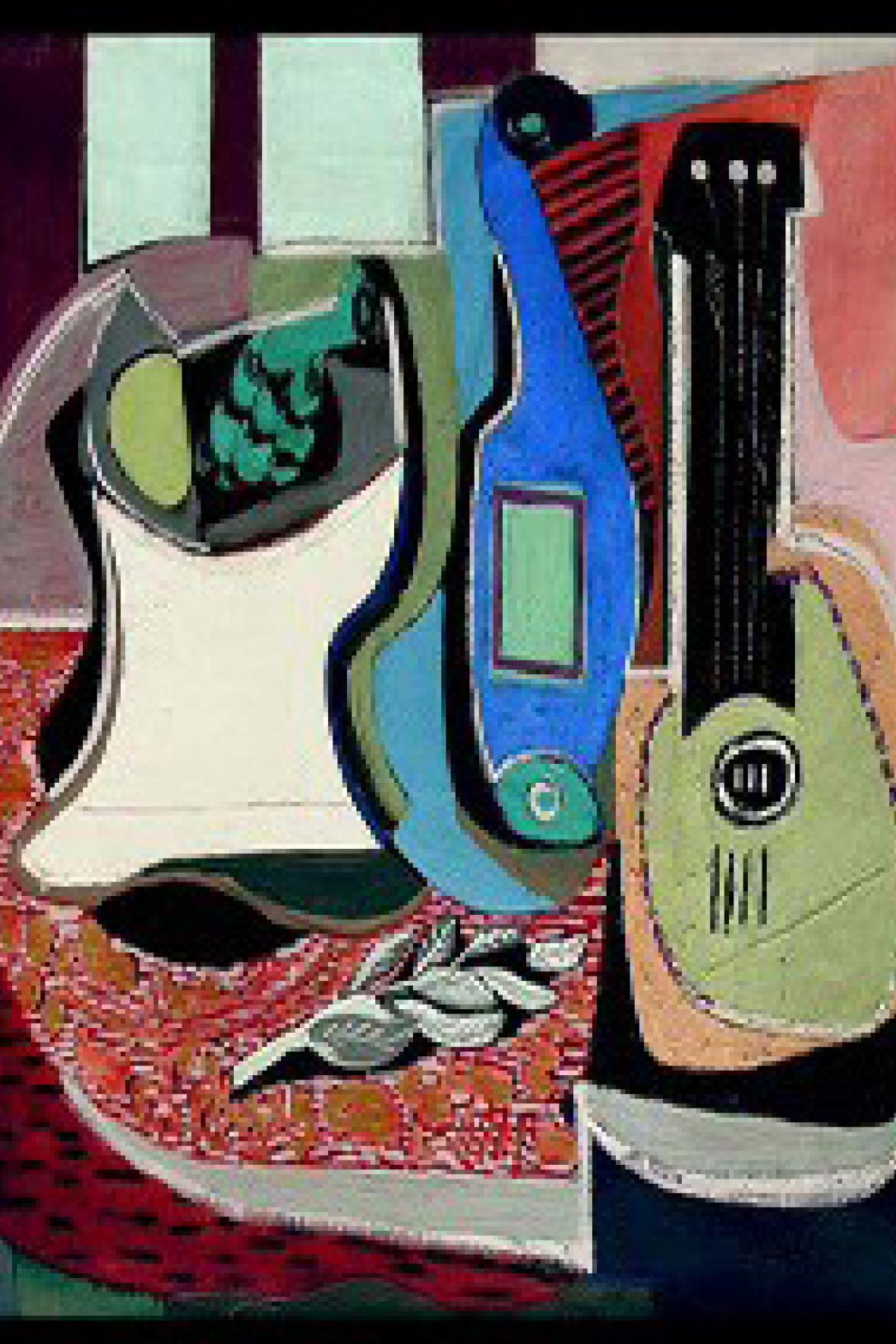 Zátiší s artyčokem a mandolínou