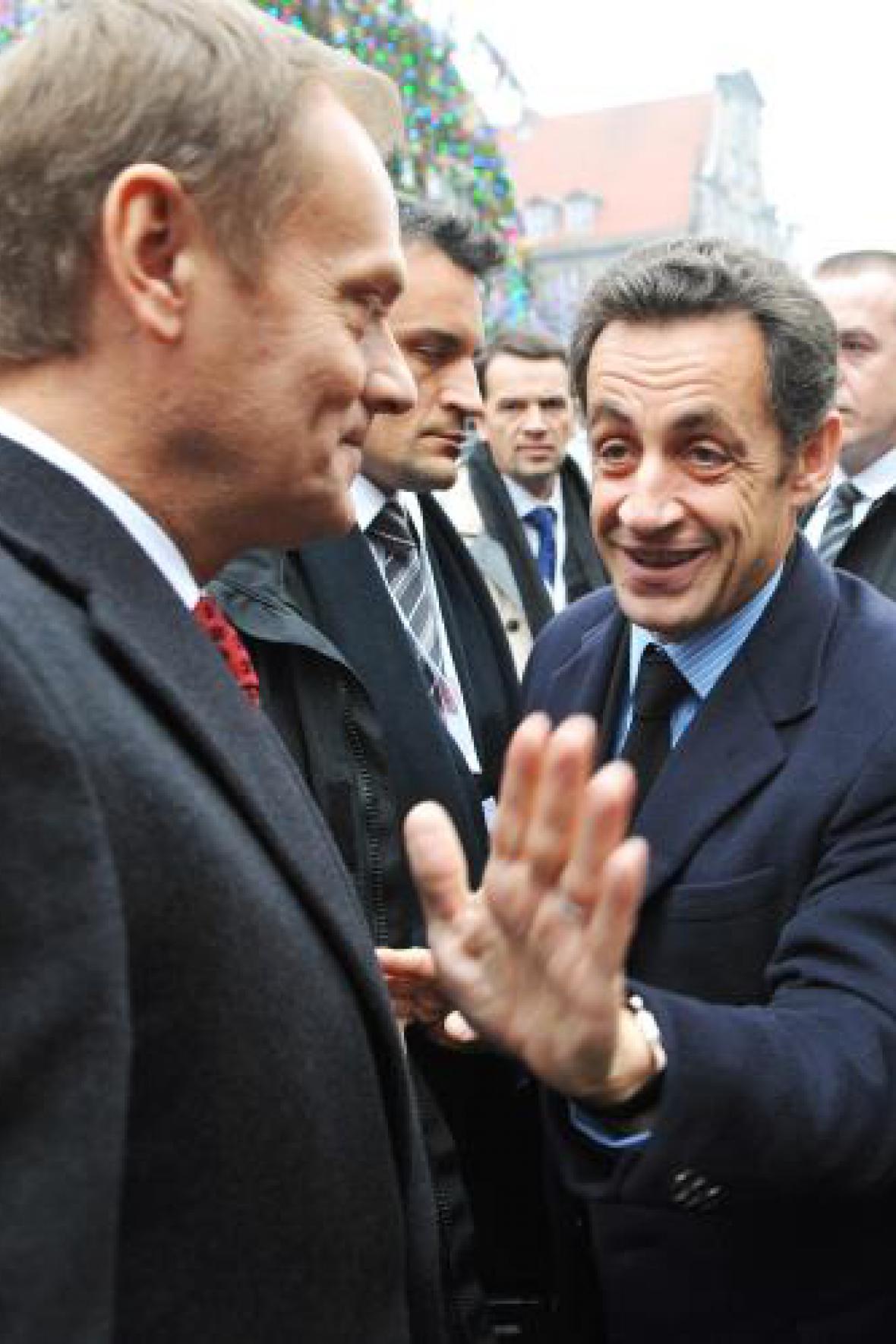 Premiér Polska Tusk a prezident Francie Sarkozy