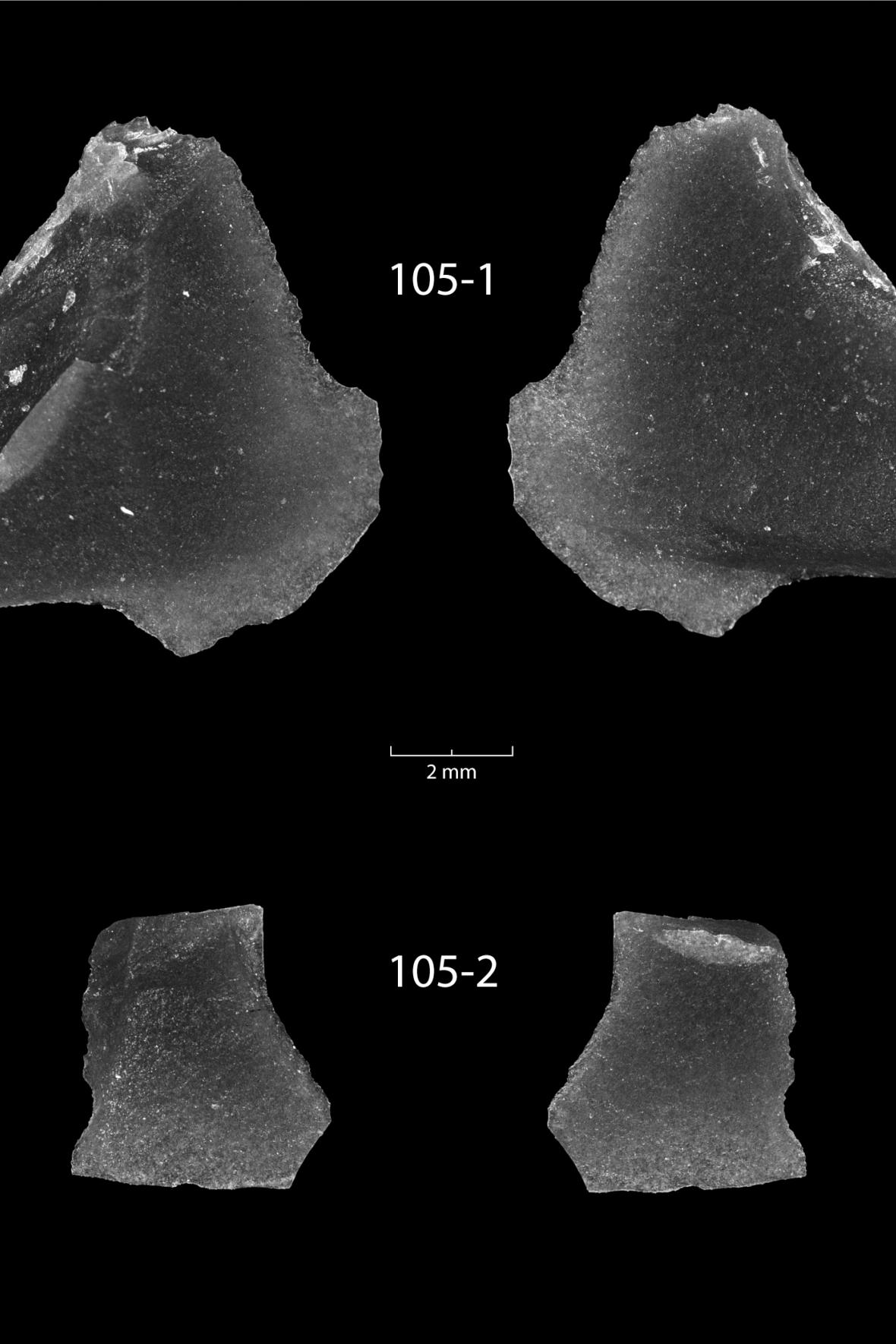 Úlomky obsidiánu z Huronského jezera