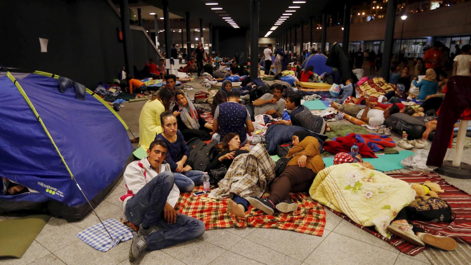 Uprchlíci na nádraží v Budapešti