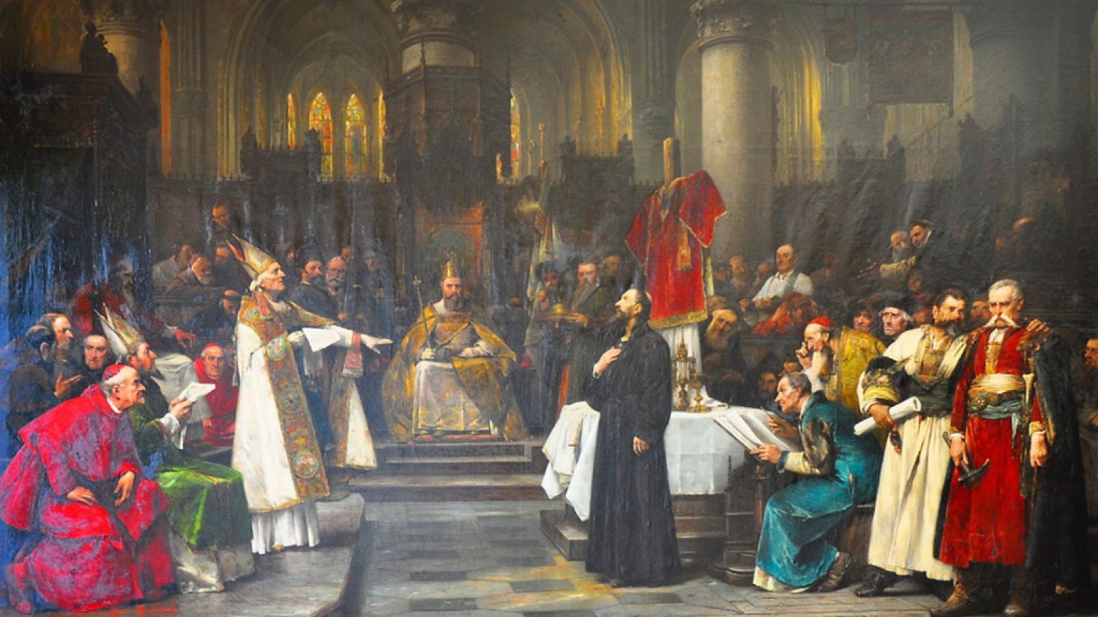 Václav Brožík / Mistr Jan Hus před koncilem kostnickým, 1883