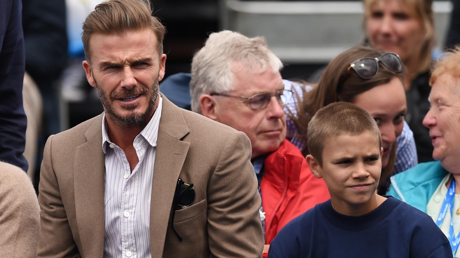 David Beckham se synem na stadionu