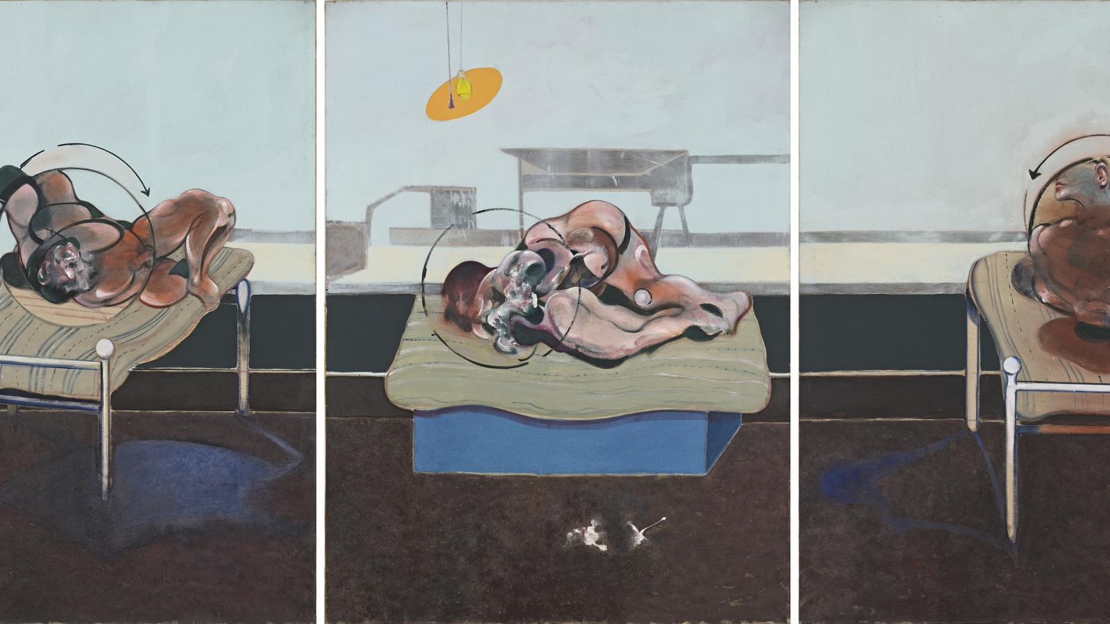 Francis Bacon / Tři studie figury v posteli, 1972