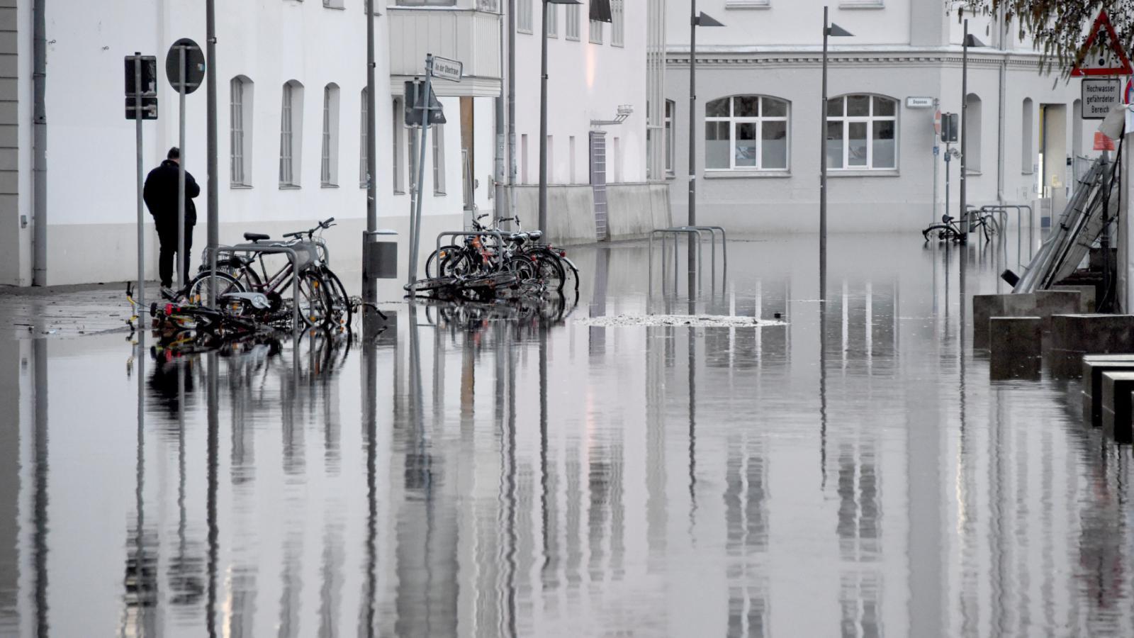Zaplavené ulice v Lübecku