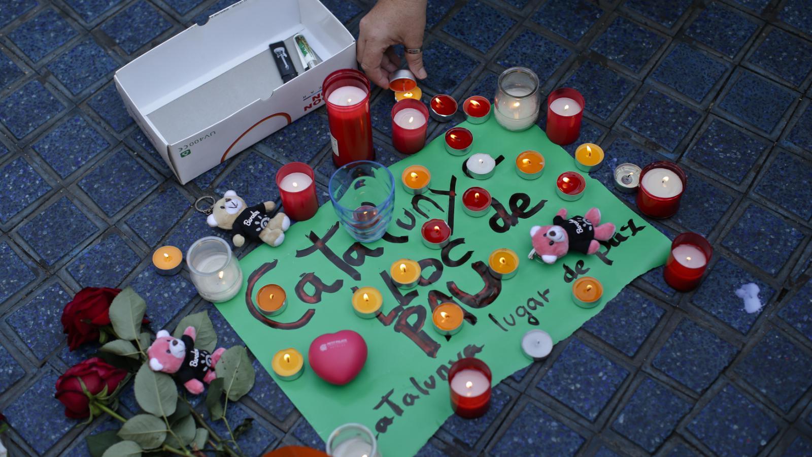 Pietní místo v Barceloně, kde udeřili teroristé